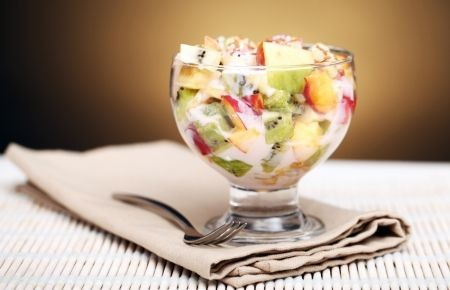 Fresh Fruit Salad with Banana Yogurt Dressing